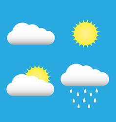 clouds and sun icons set cloud sun cloud rain vector image