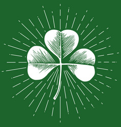 clover with three leaf - vintage engraved vector image