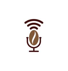 Coffee podcast logo icon design vector