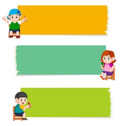 collection blank board with children vector image