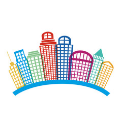 Colorful silhouette city landscape with buildings vector
