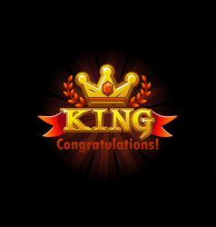 congratulation inscription golden crown vector image