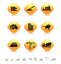 Construction and realty icons on rhombus buttons vector image