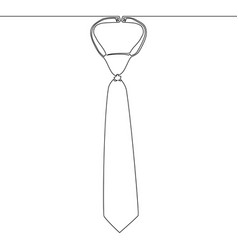 Continuous one line drawing necktie icon concept vector