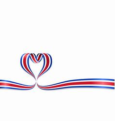 costa rican flag heart-shaped ribbon vector image