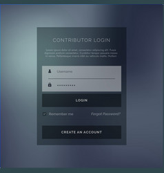 Creative login form ui template in dark theme vector