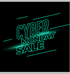 Cyber monday sale banner in neon light style vector