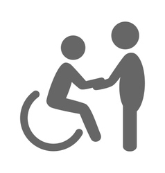 Disability man with helpmate pictograph flat icon vector
