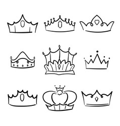 doodle crown princess collection vector image