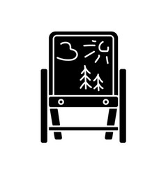 drawing easel black glyph icon vector image