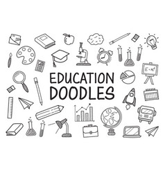 education doodles hand drawn icons vector image