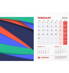 February 2016 Desk Calendar for 2016 Year vector