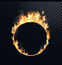 fire ring realistic burning fiery circus circle vector image