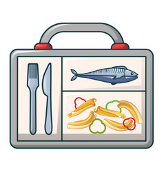fish and pasta in case icon cartoon style vector image