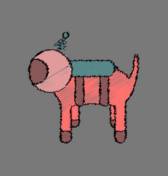 Flat icon design collection space dog in stroke vector