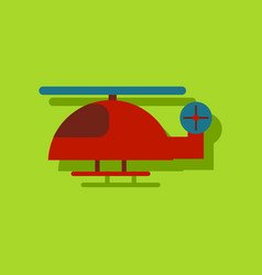 Flat icon design helicopter toy flying in sticker vector