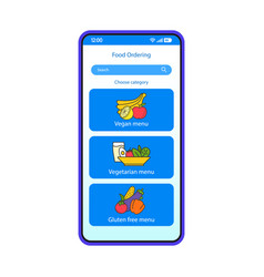 Food ordering online app smartphone interface vector