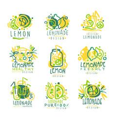 Freshly lemonade 100 percent pure lemon set for vector