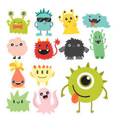 funny cartoon monster cute alien character vector image