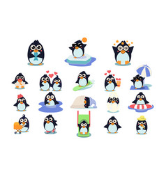 funny christmas penguins characters set cute vector image