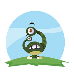 Funny monster with bulging eyes in field vector