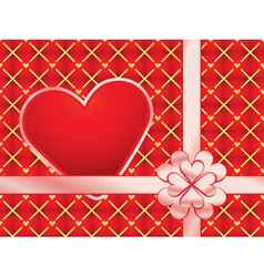 gift wrapper with red valentine vector image