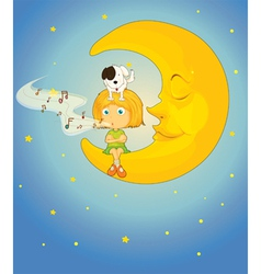 Girl dog and moon vector