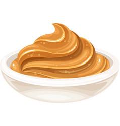 Glass bowl peanut butter vector