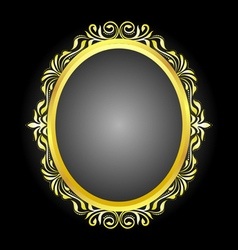 Gold frame oval vector