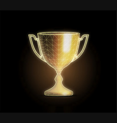 golden award cup with polygonal grid on dark vector image
