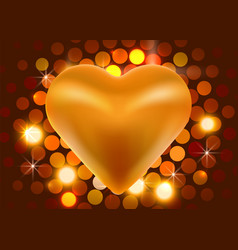 golden valentine heart on shiny background love vector image