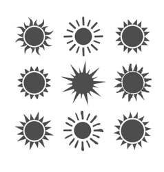Gray sun set icons isolated on white background vector image