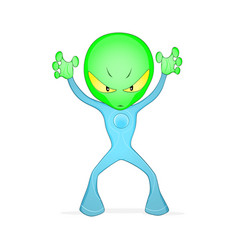 Green frightening alien vector