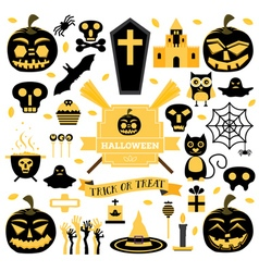 Halloween set pumpkin skull ghost candy cat vector