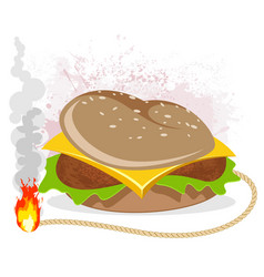 Hamburger with a wick vector