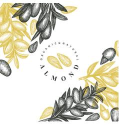 hand drawn sketch almond design template organic vector image