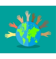 hands of different colors and globe vector image