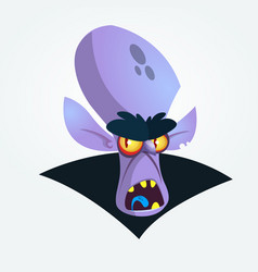 happy cartoon vampire head yelling vector image