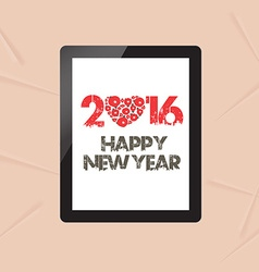 Happy new year with greeting card in tablet vector