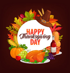 happy thanksgiving day dinner round frame vector image