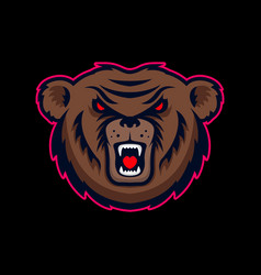 head angry bear mascot design element for logo vector image