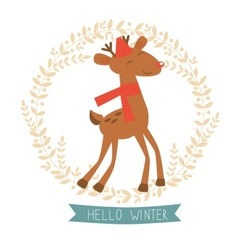 Hello winter card with cute reindeer vector