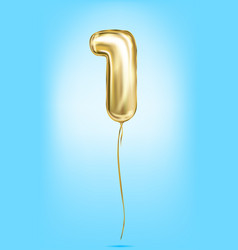 high quality image of gold balloons digit 1 one vector image