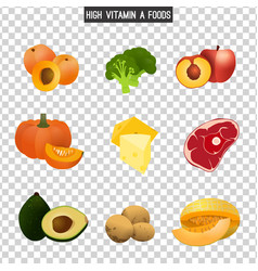 High vitamin a foods vector