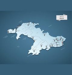 isometric 3d wales map concept vector image