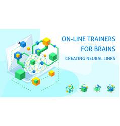 Isometric brain development concept creating neur vector