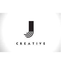 J logo letter with black lines design line letter vector