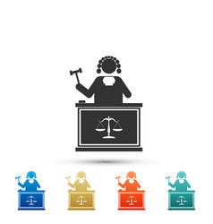 judge with gavel on table icon on white background vector image