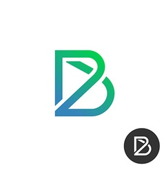 Letter b linear industry wire puzzle logo template vector