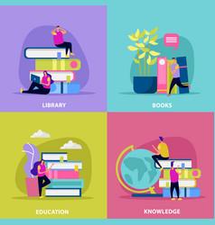 Library flat design concept vector